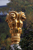 Golden lion statue at buddhist temple in Shanghai, China — Stock Photo