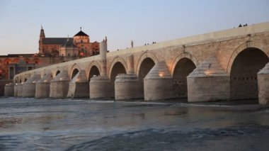 Ponte romana em Córdoba, Andalucia, Espanha — Vídeo stock