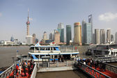 Ferry over Huangpu river in Shanghai, China — Stock Photo