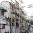 Stock Photo: Bamboo scaffolding in the old town of Shanghai, China