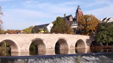 Old bridge in Wetzlar, Germany — Stock Video