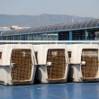 Dog crates on a ferry boat — Stock Photo