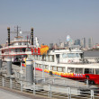 Stock Photo: Huangpu river cruising ships in Shanghai, China
