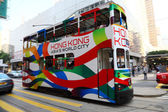 Double decker tram in Hong Kong city — Stockfoto