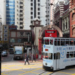Double decker tramway downtown in Central Hong Kong, China — Stockfoto
