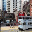 Double decker tramway downtown in Central Hong Kong, China — Foto Stock