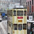 Doulbe decker tram in Central Hong Kong, China — Stock Photo