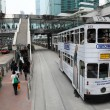 Double decker tramway downtown in Central Hong Kong, China — Stock Photo