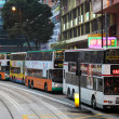 Double decker buses downtown in Central Hong Kong, China — Stock Photo