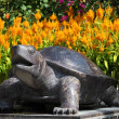 Asian turtle statue in a garden — Photo