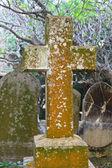 Krzyż na bardzo stary cmentarz chrześcijański — Zdjęcie stockowe