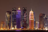 Doha downtown skyline at night, Qatar, Middle East — ストック写真