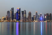 Doha downtown skyline at dusk, Qatar, Middle East — ストック写真