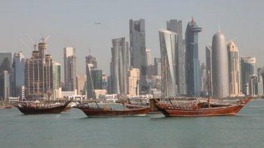 Doha skyline. Qatar, Middle East — Stock Video