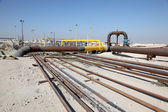 Oil and gas pipeline in the desert of Bahrain, Middle East — Stock Photo
