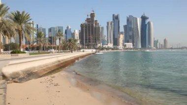 Beach at the Doha Corniche, Qatar — Stock Video
