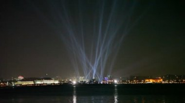 Floodlight show in Doha, Qatar — Stock Video