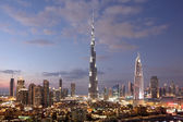 Burj Khalifa and Dubai Downtown at dusk. United Arab Emirates — Stock Photo