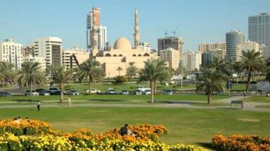Square in Sharjah City, UAE — Stock Video