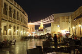 Souq Waqif street at night with many cafes and restaurants. Doha, Qatar, Middle East — Stock Photo