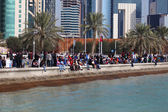 Spectators watching the Qatar National Day Air Show from the Corniche. December 18th 2013 in Doha, Qatar, Middle East — Stock Photo