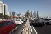 Traffic on the corniche road in Doha, Qatar, Middle East — Stok fotoğraf