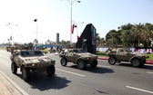Military parade in Doha at the National Day. Qatar, Middle East — Stock Photo