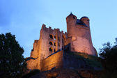 Ancient Castle Greifenstein illuminated at night. Hesse, Germany — Stock fotografie