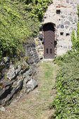 Door in a medieval castle Greifenstein, Hesse, Germany — Stockfoto