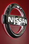 LEIPZIG, GERMANY - JUNE 1: Nissan Logo at the AMI - Auto Mobile International Trade Fair on June 1st, 2014 in Leipzig, Germany — Foto de Stock