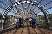 Footbridge at the Leipzig Trade Fair building. Saxony, Germany — Foto Stock