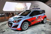 LEIPZIG, GERMANY - JUNE 1: Hyundai i20 Racing Car at the AMI - Auto Mobile International Trade Fair on June 1st, 2014 in Leipzig, Saxony, Germany — Stock Photo