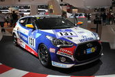 LEIPZIG, GERMANY - JUNE 1: Hyundai Veloster Turbo Racing Car at the AMI - Auto Mobile International Trade Fair on June 1st, 2014 in Leipzig, Saxony, Germany — Stock Photo