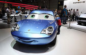 Porsche sportscar for children at the AMI - Auto Mobile International Trade Fair on June 1st, 2014 in Leipzig, Germany — Stock Photo