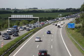 Traffic Jam because of a construction site on the autobahn (highway) in Germany — Stock Photo