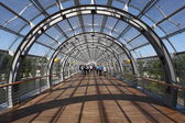 Pedestrian overpass at the Leipzig Trade Fair building. Saxony, Germany — Stock Photo