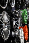 Design light-alloy rims at the AMI - Auto Mobile International Trade Fair on June 1st, 2014 in Leipzig, Saxony, Germany — Foto Stock