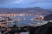 Harbor of Cartagena at night. Region of Murcia, Spain — Stock Photo