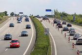 Traffic jam on German autobahn (highway) — Stock Photo