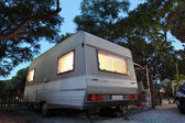 Caravan on a camping site in Spain — Stock Photo
