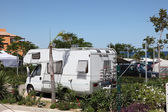 Mobile home on a camping site in southern Spain — Stock Photo