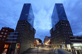 Twin towers in the city of Bilbao at dusk. Province of Biscay, Spain — Stock Photo