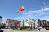 Traffic roundabout with spanish flag in Santander, Cantabria, Spain — Stock Photo