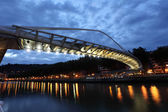 Pedestrian bridge over Nervion river in Bilbao. Province of Biscay, Spain — Stock Photo