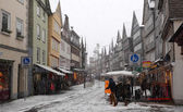 Heavy snowfall in December 2013 in the old town Herborn, Hesse, Germany — Stockfoto