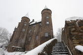 Snow-covered ancient castle in town Herborn, Hesse, Germany — Stockfoto