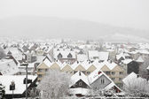Snowcapped houses in town Herborn, Hesse, Germany — Stockfoto
