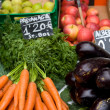 Fresh fruits and vegetables on a stall - Stock Photo