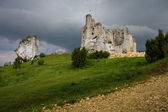 Castle ruins and a meadow — Foto Stock