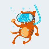 Cat Diver — Stock Vector